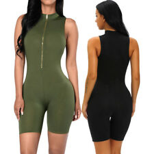 Army Green Zip Front Mock Neck Capris Romper Dress Stage Dance Wear Casual Brief