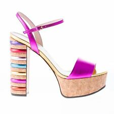 GUCCI women shoes Fuxia ankle strap leather sandal with cork platform and heel