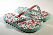NEW GIRLS KIDS REEF FLAMINGO W SILVER SPARKLES THONG FLIP FLOP SANDALS SZ 7/8