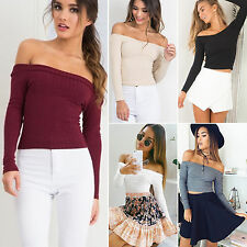 Womens Ladies Off Shoulder Stretch Slim Knit Long Sleeve T-Shirt Blosue Crop Top
