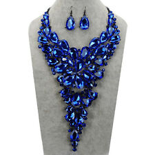Blue Rhinestone Statement Bib Pendant Necklace Dangling Earrings Jewelry Set