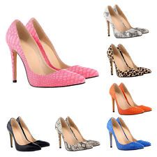 A Fashion Women Snake Skin Leopard 11CM High Heels Stilettos Pointed Pumps Shoes