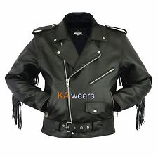 Mens Leather Brando Classic Biker Motorbike Motorcycle Jacket Perfecto Vintage