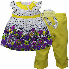 NWT Laura Ashley Baby Girl Outfit Top Legging Headband Size 3 6 9 12 18 24 month