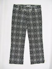 Womens Nanette Lepore Black Beige Embroidered Floral Cropped Pants Size 2
