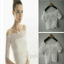 Off The Shoulder Wedding Jackets Lace Appliques Cap Sleeve Bridal Wraps Custom