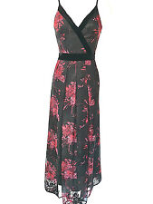 womens Karen Millen Devore Maxi Dress Floral Red Black Long Velvet Trim all size