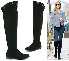 Ladies Black Flat Over The Knee Thigh High Pull On Low Heel Studs Boots Shoes