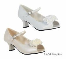 New Girls Toddler Youth Kids White Ivory Dress Shoes Open Toe Pageant Wedding