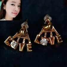 Korean Fashion Shiny Rhinestone Earrings Delicate Letters LOVE Stud Earrings HW