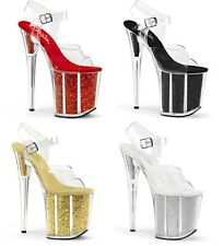 Pleaser FLAMINGO-808G Glitter Filled Platform Exotic Dancing Ankle Strap Sandal