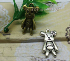 Free shipping 10/50pcs Fashion exquisite lovely little bear alloy charm pendant