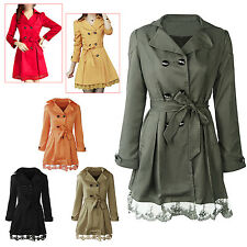 2X(Long Sleeve Slim Fit Trench Double Breasted Coat Jacket Outwear 20CF)