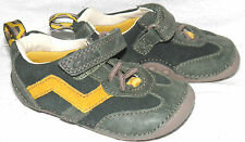 Clarks Baby Boy Khaki/Orange Leather first shoes size 3/18.5 F RRP £24