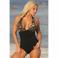 One Piece Swimsuit Camo Halter Swimwear Padded Long Torso Full Coverage Ujena