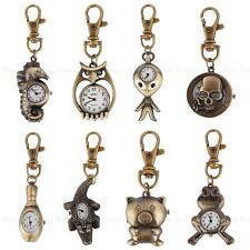 Mini Vintage Bronze Tone Key Ring Pocket Quartz Pendant Kids Unisex Watch Gift