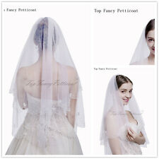 Elegant Lady 2T Short White Veil Bridal Beaded Adge Elbow Veils With Comb