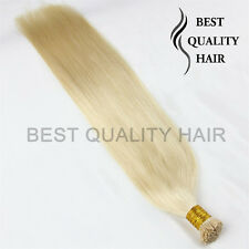 50 Strands 20''-30'' Straight Stick I Tip Remy Human Hair Extensions Blonde 613#