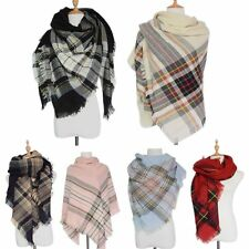 Checked Cashmere Cozy Oversized Tartan Scarf Pashmina Plaid Blanket Wrap Shawl