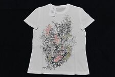 ALEXANDER MCQUEEN WOMEN T SHIRT SMALL/38 SKULL LEAVES PINK GREEN NEW AUTH