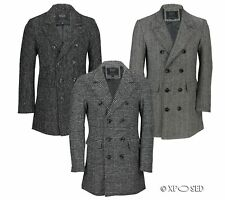 Mens Black Grey Tweed Check Herringbone Double Breasted Jacket Slim Fit Overcoat