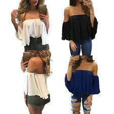 Womens Sexy Off Shoulder Casual Party T Shirt Stretch Blouse Bodycon Top J7G7