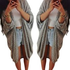 Women Loose  Cardigan Knitted Sweater Batwing Sleeve Tops Cardigan Outwear Coat