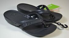 NWT YOUTH GIRL CROCS BLACK KADEE FLIP FLOP WEDGE SLIP ON SANDALS SHOES SZ J 1-5