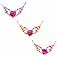 """1.75Carat Pink Sapphire Angel Wing Pendant W/16"""" Chain 14K Solid Gold"""