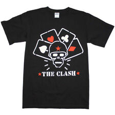 Men's The Clash Straight to Hell Cards T-Shirt Black Skull Punk Rock Band Music