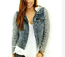 Free People Denim Knit Hybrid Hooded Hoodie Indigo Wash Vintage Jean Jacket