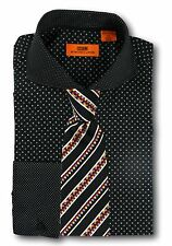 Dress Shirt Steven Land - Cutaway Spread Collar  French Cuff- Black -DC1246-BK