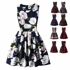 Women's Retro Floral Evening Cocktail Party Mini Dress Casual Sleeveless Dresses