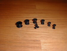 "1 Pair 6g-9/16 Inch Hollow Silicone Plugs ""Black"""