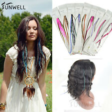 Mixed Color Fashion Real Grizzly Rooster Feathers Hair Extension With Free Beads