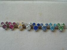 Mickey Mouse Swar Crystal Earrings Studs Multi Colour Platinum Plated