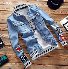 2017 Mens VINTAGE Retro Coat Denim Blue Outwear Long Sleeve Striped Jeans Jacket