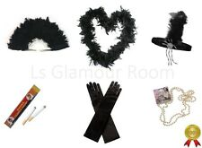 Gatsby Ladies Fancy Dress Accessories Flapper 20S Theme Charleston Girl Black