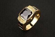 New HOT 18K Gold Plated Hip Hop BAND RING MICRO PAVE CZ Engagement Men Women