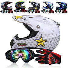 S-XL Motocross Off-Road Racing ATV Dirt Bike Protector DOT Helmet+Goggles+Gloves
