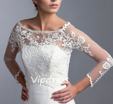 Elegant Wedding Jackets Long Sleeve Lace Appliques Bridal Wraps Boleros Custom