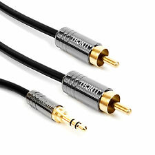 8M 3.5mm Plug Jack to 2 RCA twin Male Stereo Phono Audio Cable Lead PC OFC Gold