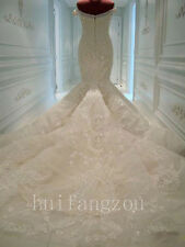 Luxury Beaded Wedding Dresses Bridal Gowns Mermaid Court Train Size 4 8 12 16