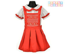 Girls Hand Smocked Pinafore Dress Set Embroidered Red Flowers Romany Baby Outfit