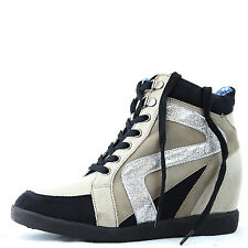 Qupid Patrol-24 Lace Up Hidden Wedge High Heel Sneakers Round Toe Fashion Shoes