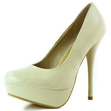 Women's Nude Color Patent Leather Round Toe Platform Fashion High Heel Pumps