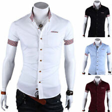 Luxury Men Stylish Slim Fit Shirts Short Sleeves WORK Dress Casual T-shirts Tops