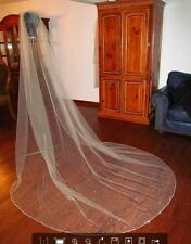 3M 1T Luxury Cathedral Length Crystal Edge Bridal Wedding Veil Custom Beads 2016