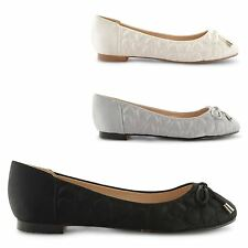 NEW LADIES BALLERINA BALLET DOLLY PUMPS COMFY LACE LOAFER FLAT SHOES UK SIZE 3-8