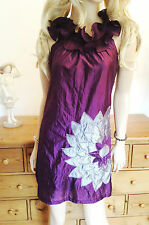 Ax  paris tunic top   Aubergine ruffle frill neck with grey applique flower
